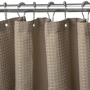 Waffle Heavy Duty Fabric Shower Curtain with Hooks